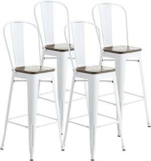 mecor Metal Bar Stools Set of 4 with Removable Backrest, 30'' Dining Counter Height Chairs with Wood Seat (White)