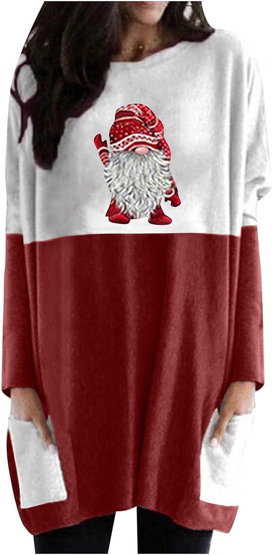 FUNEY Women's Christmas Patchwork Sweatshirts Plus Size Long Sleeve Xmas Santa Printed Casual Loose Tunic Tops Blouse