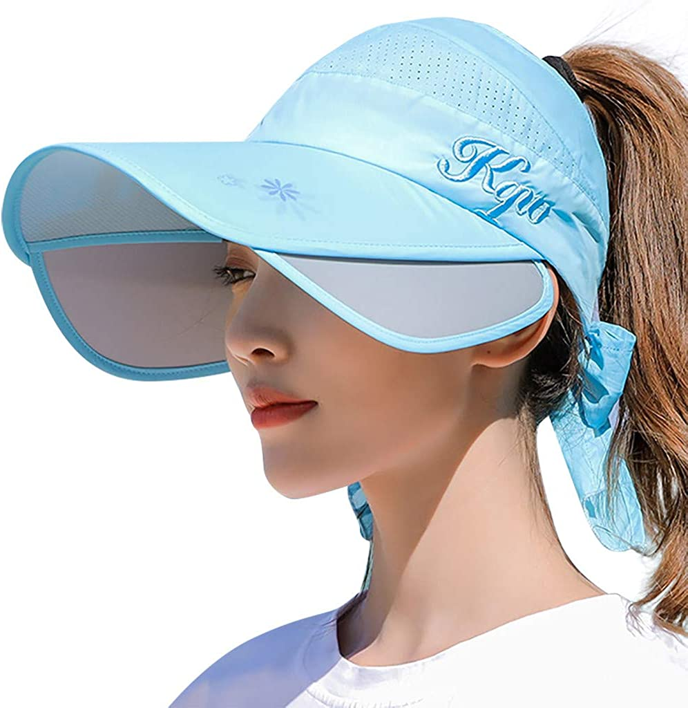 Women Wide Brim Sun Hats Summer Beach Visors Traveling Sports Caps Outdoor Sun Protection UPF 50+ Mesh Sunhat