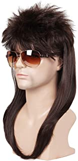 ColorGround Long Straight Brown 80S Mullet Disco Cosplay Wigs for Men