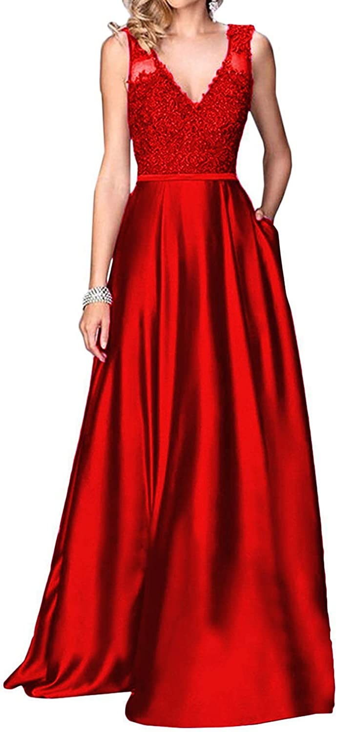 PearlBridal Women's VNeck Beaded Satin Prom Dresses 2018 Long Appliques Evening Party Gown