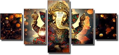 لوحة فنية جدارية من القماش من BLINFEIRU-Ganesha God لتزيين المنزل الحديث 5 قطع صورة دينية