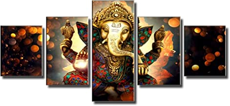 BLINFEIRU Hindu God Ganesha Wall Art for Living Room Decor Canvas Printed Painting Modern Home Yoga Room Decorative 5pcs Lord Ganesha Elephant Picture Poster Frame Artwork Ready to Hang