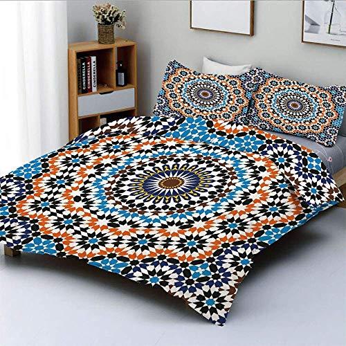 Juego de funda nórdica, azulejo de cerámica marroquí inspirado en árabe floral, estilo antiguo, mosaico cultural, juego de cama decorativo de 3 piezas con 2 fundas de almohada, multicolor, el mejor re