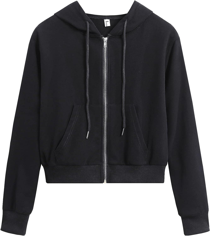 DRESSOLE Women's Cropped Zip Up Hoodie Long Sleeve Pocket Hooded Sweatshirt Coat