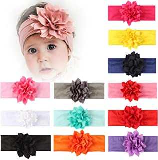 Baby Toddler Girl Hairbands Lotus Flower Elastic Headband Newborn Hair Accessories (Lotus Flower 12 Pack)