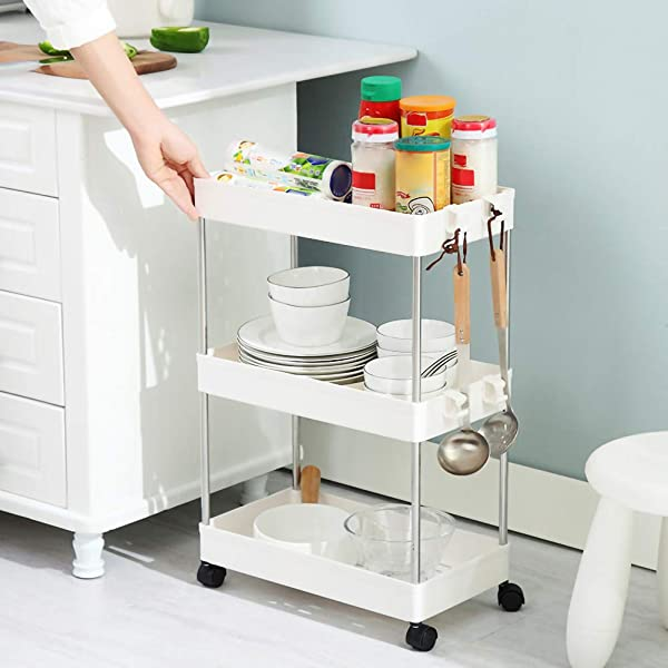 JIAN C 3 Tier Utility Rolling Cart Mobile Storage Organizer Plastic Shelving Trolley Storage Shelves Cart With 3 Storage Baskets For Kitchen Bathroom 1PCS