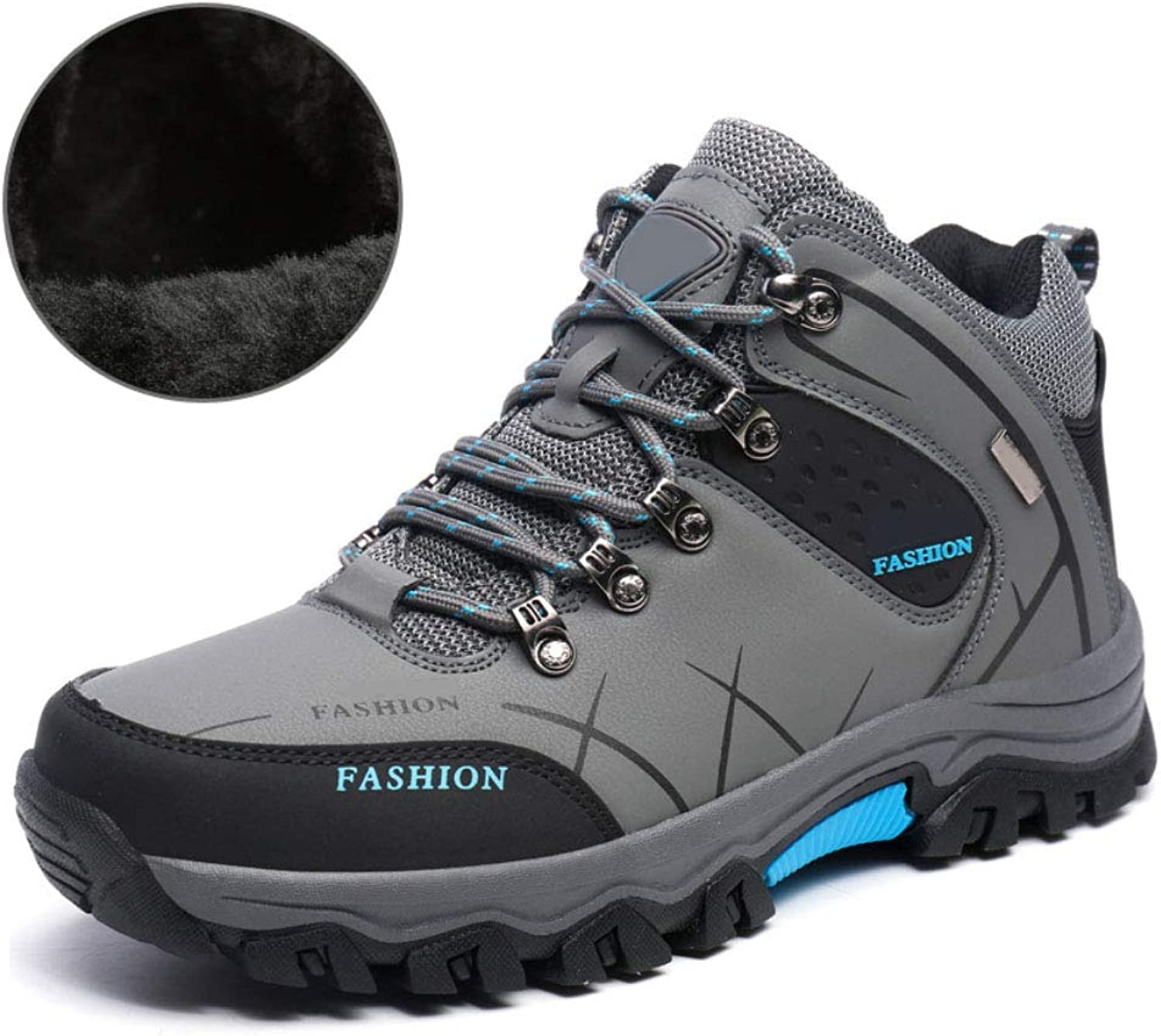 Hiking shoes Men's high shoes Warm Non-Slip Cotton shoes Breathable Waterproof wear-Resistant Hiking Plus Velvet Outdoor