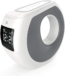 سماعة بلوتوث نيلكن خارجية مع شاحن لاسلكي وساعة رقمية MC1 , أبيض , Bluetooth Speaker