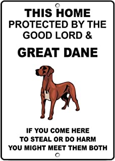 Aluminum Metal Sign Funny Great Dane Dog Home Protected by Good Lord and Informative Novelty Wall Art Vertical 8INx12IN