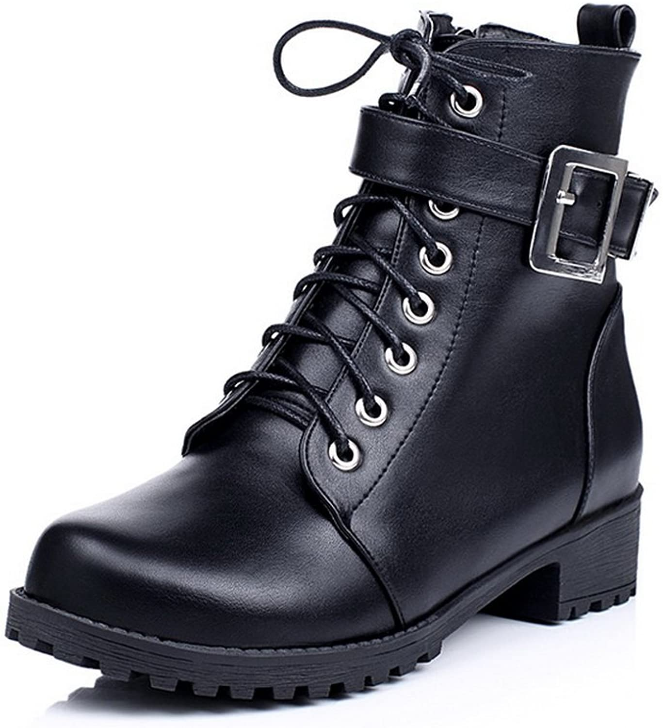 BalaMasa Girls Buckle Square Heels Zipper Solid Imitated Leather Boots