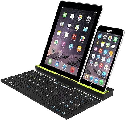 CZLABL Faltbare Bluetooth-Tastatur  Tragbare Kabellose Tastatur Mit St nder  Automatische EIN- Und Ausschaltung Durch Magnetische Induktion F r Ios Windows PC  Tablet  Smartphone Schwarz