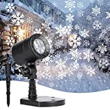Minetom Snowflake Projector Lights Outdoor LED Waterproof Plug in Moving Effect Wall Mountable for Christmas Holiday Indoor Home Party New Year Decoration Show(White)