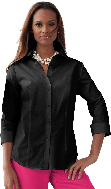 Jessica London Women's Plus Size Poplin Shirt Button Down Blouse