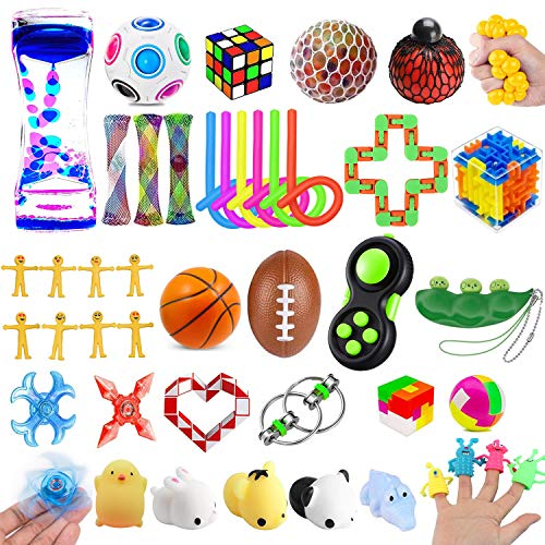 43 Pack Sensory Fidget Toys Set, Stress Relief and Anti-Anxiety Sensory Toys Pack for Kids Adults ADHD ADD Anxiety Autism with Stress Balls Squishy, Gifts for Birthday Party Favors Classroom Rewards