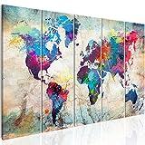 murando Cuadro Mapamundi 200x80 cm Impresión de 5 Piezas Material Tejido no...