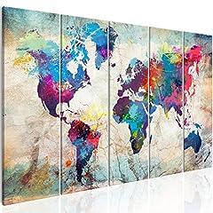 Idea Regalo - murando Quadro 225x90 cm Mappamondo Stampa su Tela in TNT XXL Immagini Moderni Murale Fotografia Grafica Decorazione da Parete Mapa del Mundo Continente k-A-0179-b-n