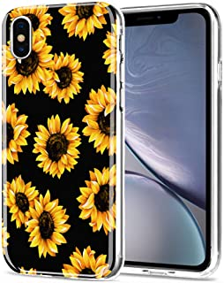 AIKIN iPhone Xs Case, Simply Designed Sunflower Flower Pattern Case Clear Ultra-Thin Soft TPU Flexible Shockproof Cute Protective Case Compatible with Apple iPhone X/iPhone Xs (Sunflower+Black)