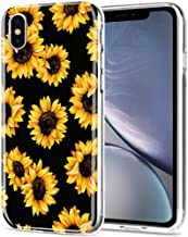 iPhone Xs Max case, AIKIN Simply Designed Flower Pattern Case Soft TPU Flexible Case Shockproof Protective Cute Case for iPhone Xs MAX 6.5 Inch (Sunflower+Black)