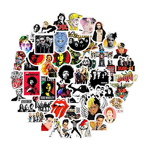 QINGMI Rock And Roll Punk Music Band Stickers For Mobile Phone Laptop Guitar Luggage Case Skateboard Bike Car 50 Pcs