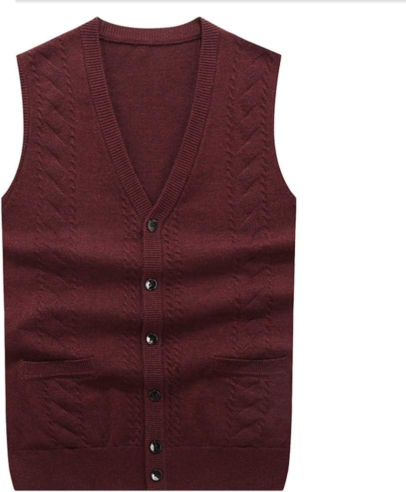 HJHJ Christmas Vest Men's Vest V-Neck Knitted Warm Sleeveless Jacket Elegant Rhombus Casual Business Pullover Vest for Spring Autumn Winter Sleeveless Vest (Color : Red, Size : XXX-Large)