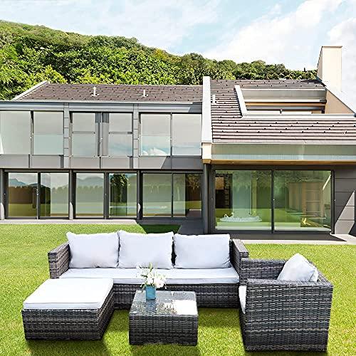 bigzzia Polyrattan Gartenmöbel Lounge Set, Polyrattan, handgeflochten, Gartensofa, Gartenmöbel Set mit Ecksofa, Tisch Kissen Gartenlounge für 5 Personen Garten
