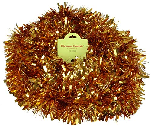 Christmas Concepts 3m / 9.8ft Chunky/Fine Christmas Tinsel - Christmas Decoration - High Quality Tinsel (Copper)