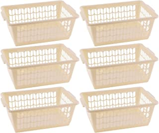$39 » YBM HOME Plastic Perforated Storage Basket Bin Office Drawer, Shelf Desktop Countertop Tray Organizer (6, Beige)