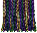 Bulk Pack of 72 Mardi Gras Colorful Beads Necklace 33 Inches Long 7mm Thick, Purple, Green, Gold Beads, Great for Party Favor Necklaces, Gasparilla Costume Accessory Supplies, By 4E's Novelty