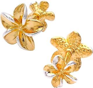 【14G 】ゴールド ボディピアス 軟骨ピアス Twin プルメリア フラワー flower ダブルフェイス ヘリックス 0082