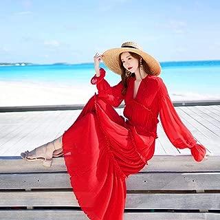 ABDKJAHSDK High Quality Summer New V-Neck Pleated Ladies Chiffon Dress Red