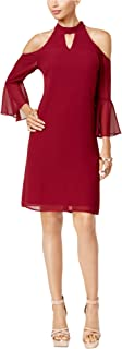 Womens Cold-Shoulder Shift Dress