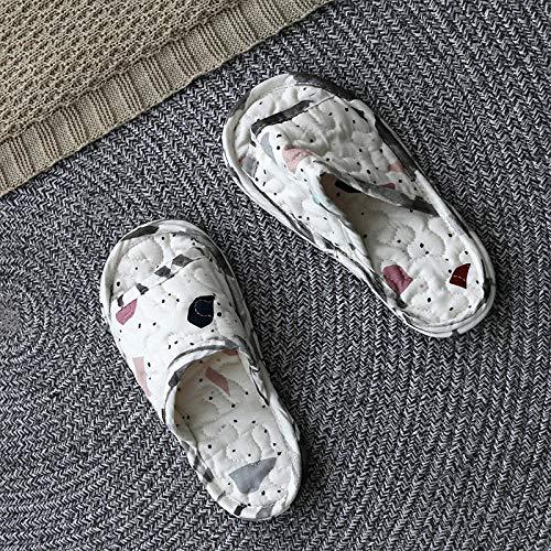 Slippers Suave Algodón Zapatilla Pareja Zapatos,Zapatillas de Pareja de Tela Acolchada, Piso de casa Zapatos de algodón Antideslizantes-Blanco 2_40-42,Caliente Forro Pantuflas