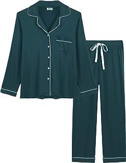 Joyaria Womens Soft Bamboo Pajama Sets Button Down Long Sleeve Pj Pants Set Sleepwear