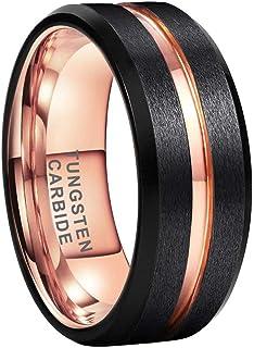 iTungsten 8mm Black Blue Brown Rose Gold Tungsten Rings for Men Women Wedding Bands Two Tone Matte Brushed Flat Beveled Ed...