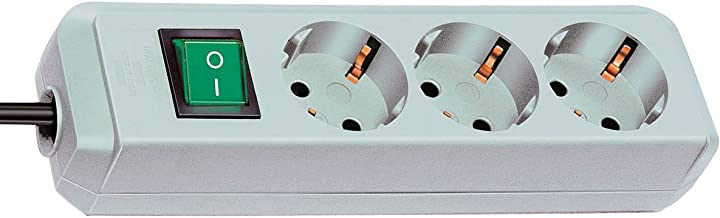 Brennenstuhl Eco-Line 3-voudige stekkerdoos (stekkerdoos met kinderbeveiliging, schakelaar en 1,5 m kabel)