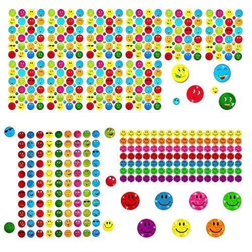 Oblique Unique® Smiley Sticker Set 1402 STK. Face Aufkleber mit Glitzer Metallic Effekt für Scrapbooking Dekoration Basteln Spielen Kinder Geburtstag