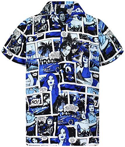 Funky Camisa Hawaiana, Comic, monoblue, L