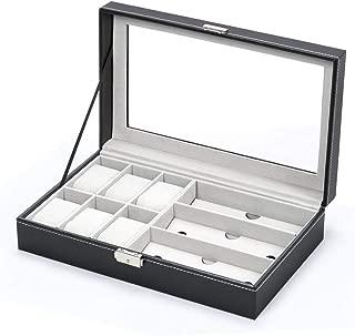 Jewelry Storage Box Watch Box Organizor With Drawer Leather Case For Watch Jewelry Display, Black