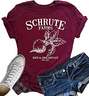 Schrute Farms Beets Women's Shirt Tops Letters Graphic Casual Top Funny Tees Blouses