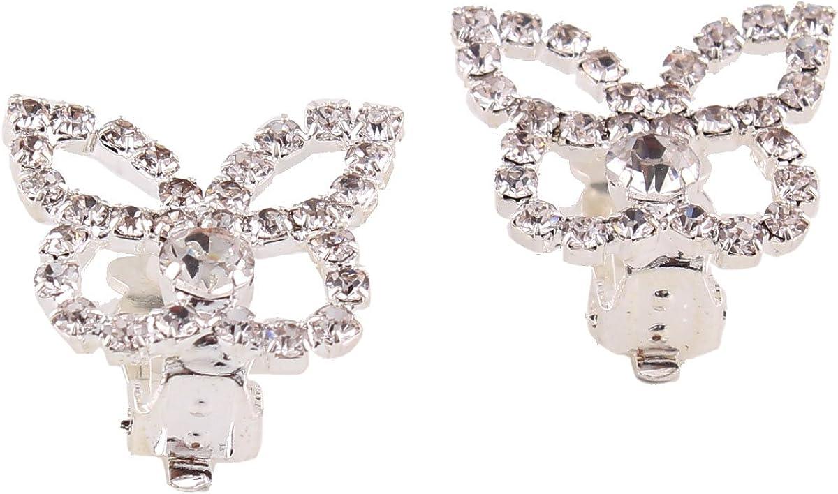 Crystal Rhinestone Butterfly Regular discount Clip on Sale Pierced Earrings No Women's