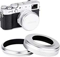 JJC Mark V Metal Lens Hood Protector with 49mm Filter Adapter Ring for Fujifilm X100V X100F X100T X100S X100 Replace Fuji LH-X100 Lens Hood & AR-X100 Adapter Ring, Fits Original Lens Cap/Silver
