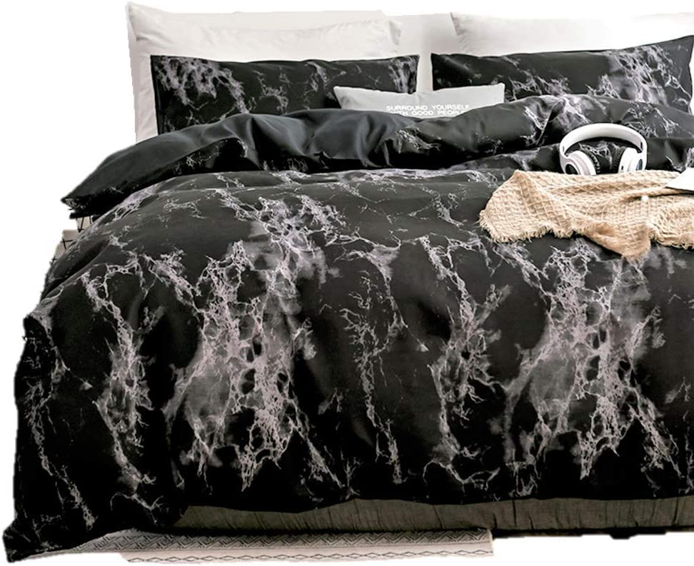 Duvet Cover Queen, Black Duvet Cover Set with Soft and Warm 100% Washed Microfiber, Also as Marble Comforter Cover or Quilt Cover, 3 Piece Bedding Set with Zipper - 90×90 inches (Queen/Full) : Home & Kitchen