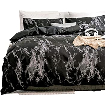 Duvet Cover Queen, Black Duvet Cover Set with Soft and Warm 100% Washed Microfiber, Also as Marble Comforter Cover or Quilt Cover, 3 Piece Bedding Set with Zipper - 90×90 inches (Queen/Full)