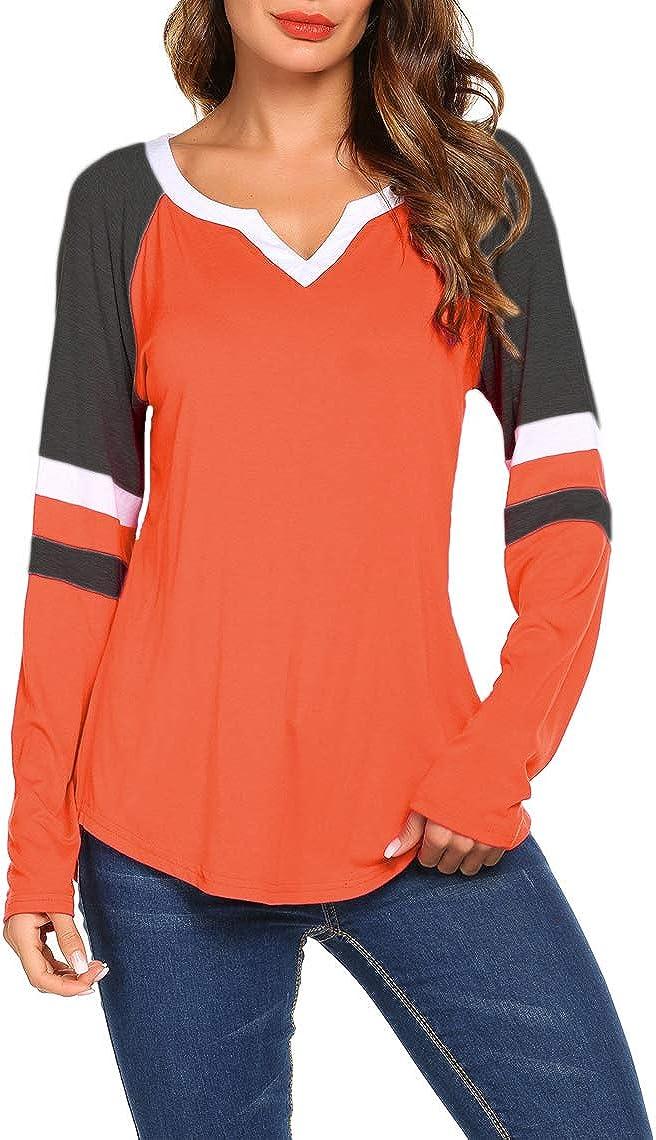 Sweetnight Women's Long Sleeve Bombing free shipping V Neck Shirts Rare Blouse Raglan Loose