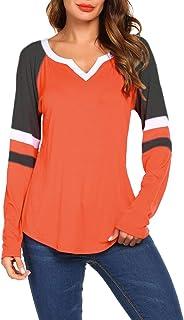 Women's Long Sleeve V Neck Raglan Shirts Loose Blouse Tops Casual Striped Tunic Tee Shirts