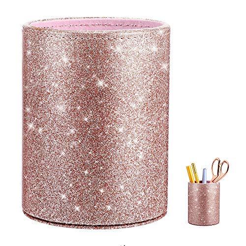 Portacepillos de Maquillaje, Pinceles de Maquillaje Almacenamiento Organizador, PU Glitter Rosa Mujer Niñas Brush Pot Pen Holder para Escritorio, Oficina, Escuela, Hogar
