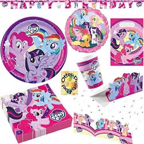 My Little Pony Partyset 87tlg. für 16 Gäste Teller Becher Servietten Tischdecke Tüten Einladung Folienballon Happy Birthday Banner