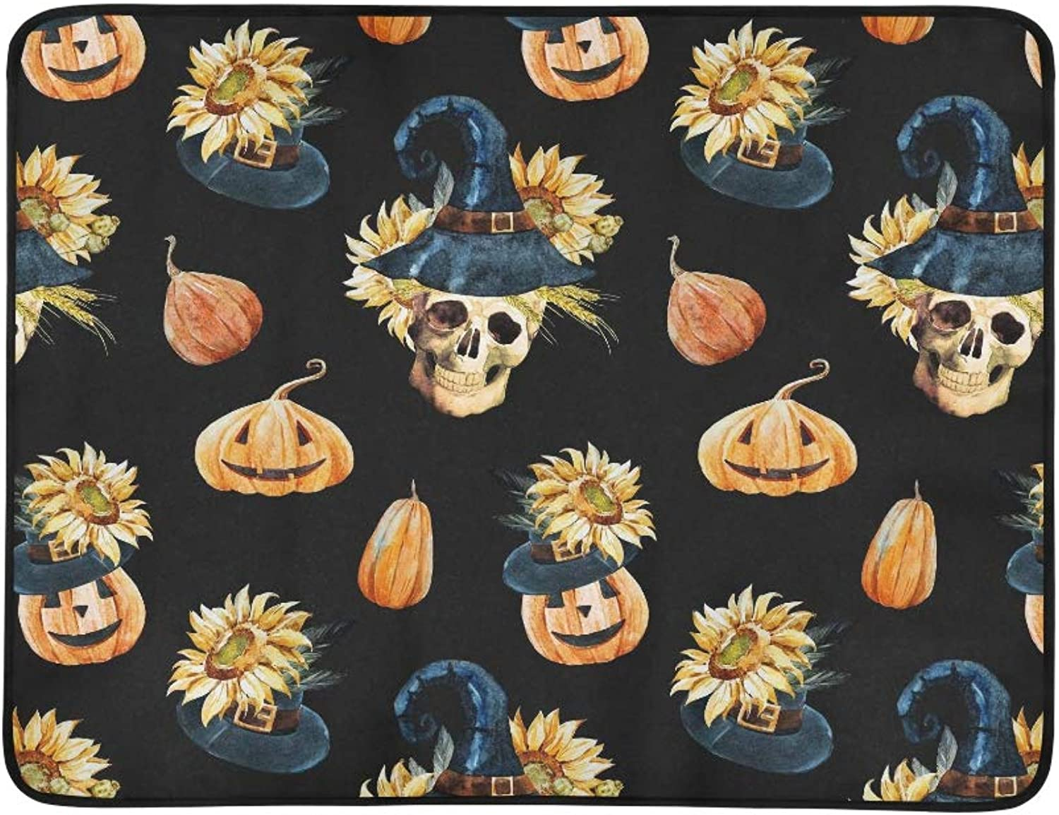 Watercolor Pattern Halloween Pattern with Skull P Pattern Portable and Foldable Blanket Mat 60x78 Inch Handy Mat for Camping Picnic Beach Indoor Outdoor Travel