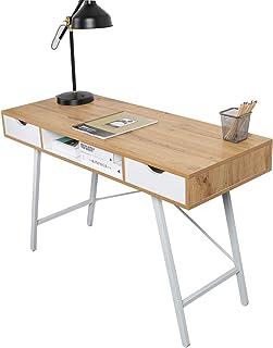 SogesHome Bureau à domicile avec 2 tiroirs et espace de rangement pour un grand espace de rangement, SH-GCBG1019-NW